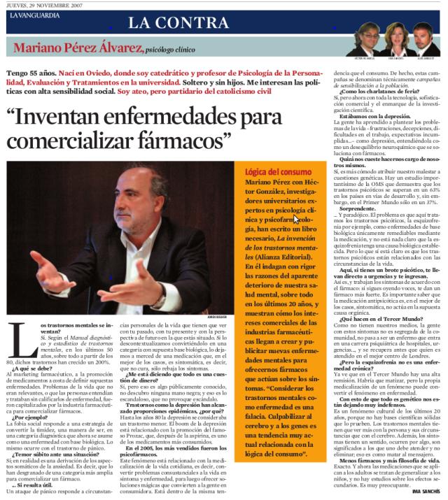 Mariano Pérez Alvarez - Inventan enfermedades para comercializar fármacos
