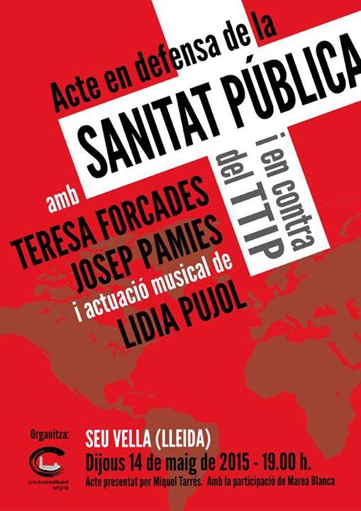 Acte en defensa de la SANITAT PUBLICA 14-5 Seu Vella de Lleida, Teresa Forcades i Josep Pàmies